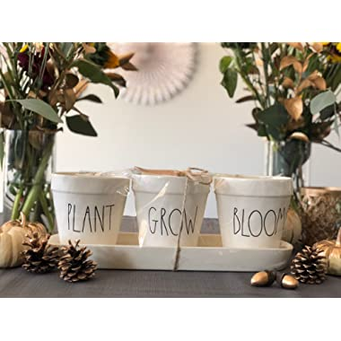 Rae Dunn Flower Pot Set PLANT GROW BLOOM