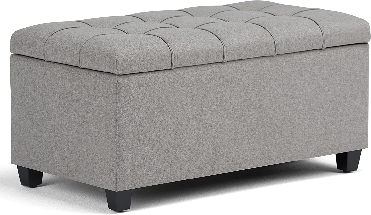 Simpli Home Sienna 34 inch Wide Rectangle Lift Top Storage Ottoman Bench in Dove Grey Tufted Linen Look Fabric, Footrest Stool, Coffee Table for the Living Room, Bedroom and Kids Room, Traditional