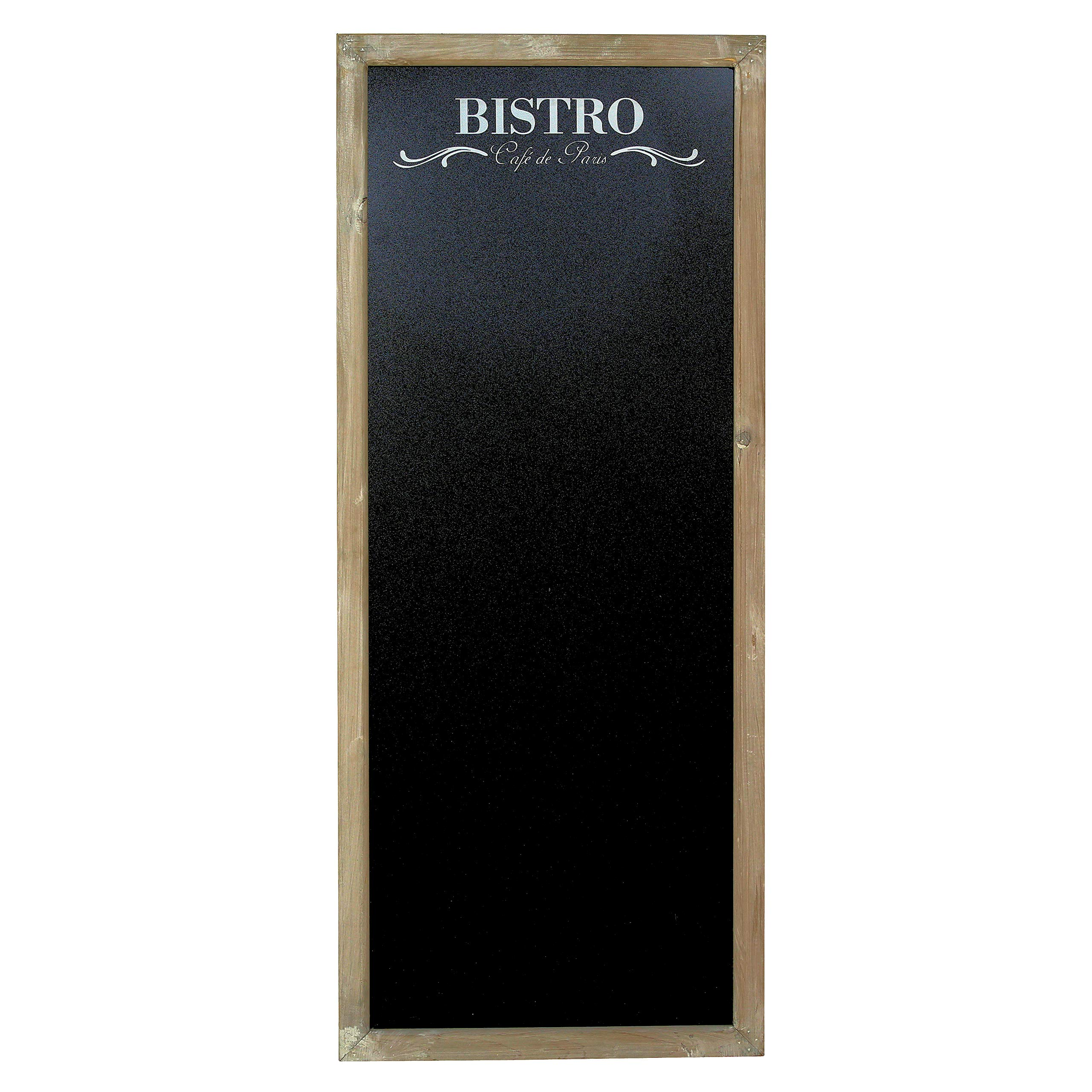 WHW Whole House Worlds Bistro Framed Chalkboard, Rustic Gray Frame, Sustainable Wood Frame with Insert Black Board, Over 3 1/2 feet Tall (45 1/4 Inches) Rectangular Rustic Shape (115 cm) by WHW Whole House Worlds