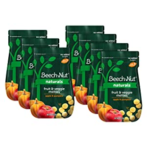 Beech-Nut Naturals Fruit & Veggie Melties Stage 3, Apple & Pumpkin, 3 Simple Ingredients, Baby and Toddler Snacks, 7 Count, 1 oz Pouches