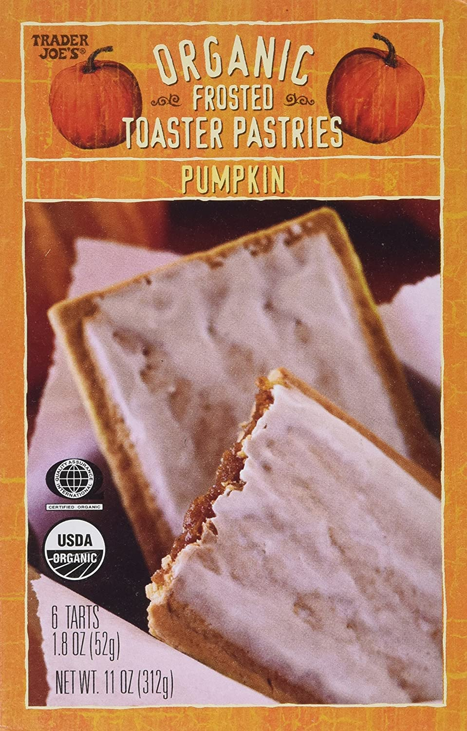 Trader Joe's Organic Frosted Toaster Pastries Pumpkin (2 Pack)
