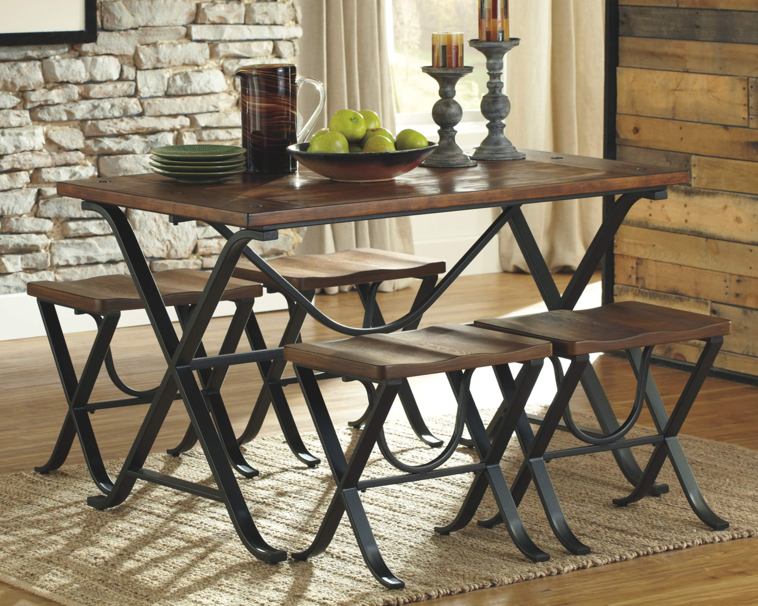 Ashley Furniture Signature Design - Freimore Dining Room Table and Stools - Set of 5 - Medium Brown Wood Top and Black Metal Legs by Signature Design by Ashley (Image #2)
