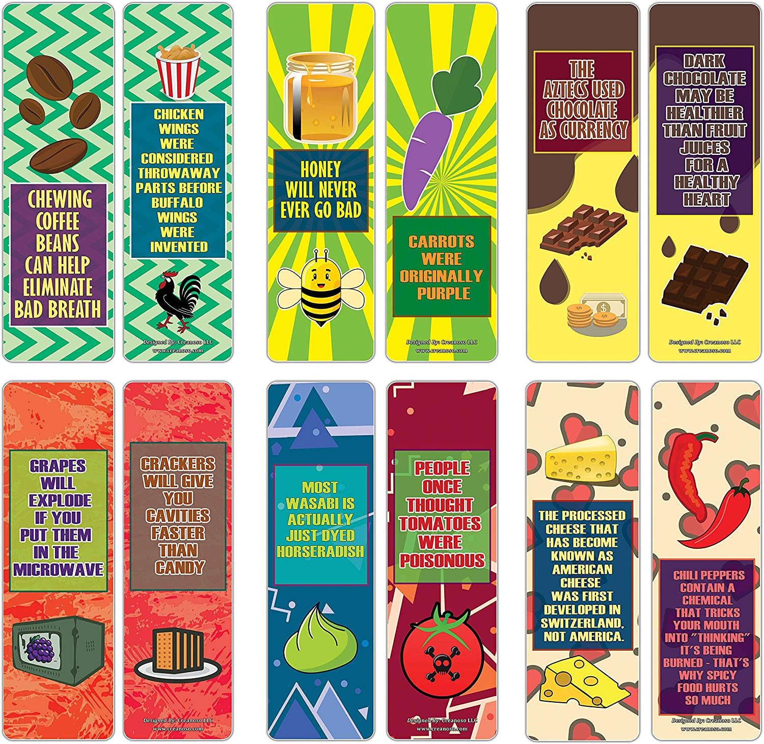 Creanoso Educational Learning About Food Facts Bookmarks Series 2 (30-Pack) – Six Assorted Bulk Pack Book Page Clippers – Great Stocking Stuffers Gifts for Children – Great Teaching Tool for Classroom