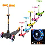 iScoot Whizz© Light Weight 3 Wheel Tilt and Turn Kick Scooter with LED Light Up Wheels T-Bar Bobbi Board for Boys / Girls / Children / Kids - Ages 2-5 - Pink
