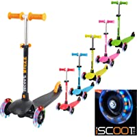iScoot Whizz© Light Weight 3 Wheel Tilt and Turn Kick Scooter with LED Light Up Wheels T-Bar Bobbi Board for Boys / Girls / Children / Kids - Ages 3-5 - Red