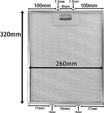 Spares2go Universal Filtro de malla de Metal para todas las marcas de campana extractora/extractor ventilación (plata, 320 x 260 mm): Amazon.es: Grandes electrodomésticos