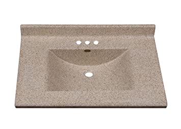 Imperial FW3122CAPSS Center Wave Bowl Bathroom Vanity Top, Cappuccino Matte  Finish, 31 Inch