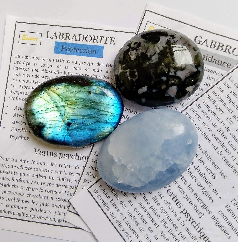 pierre de protection Pack Spirituel lot de 3 pierres en Calcite bleue 140g-180g, Multicolores pierre de relaxation Eusice pierre de guide Gabbro et Labradorite