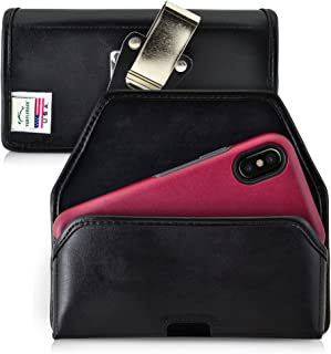 product image for Turtleback Belt Case Compatible with iPhone 11 Pro, XS & X w/OB Commuter Symmetry case Black Holster Leather Pouch with Heavy Duty Rotating Ratcheting Belt Clip Horizontal Made in USA