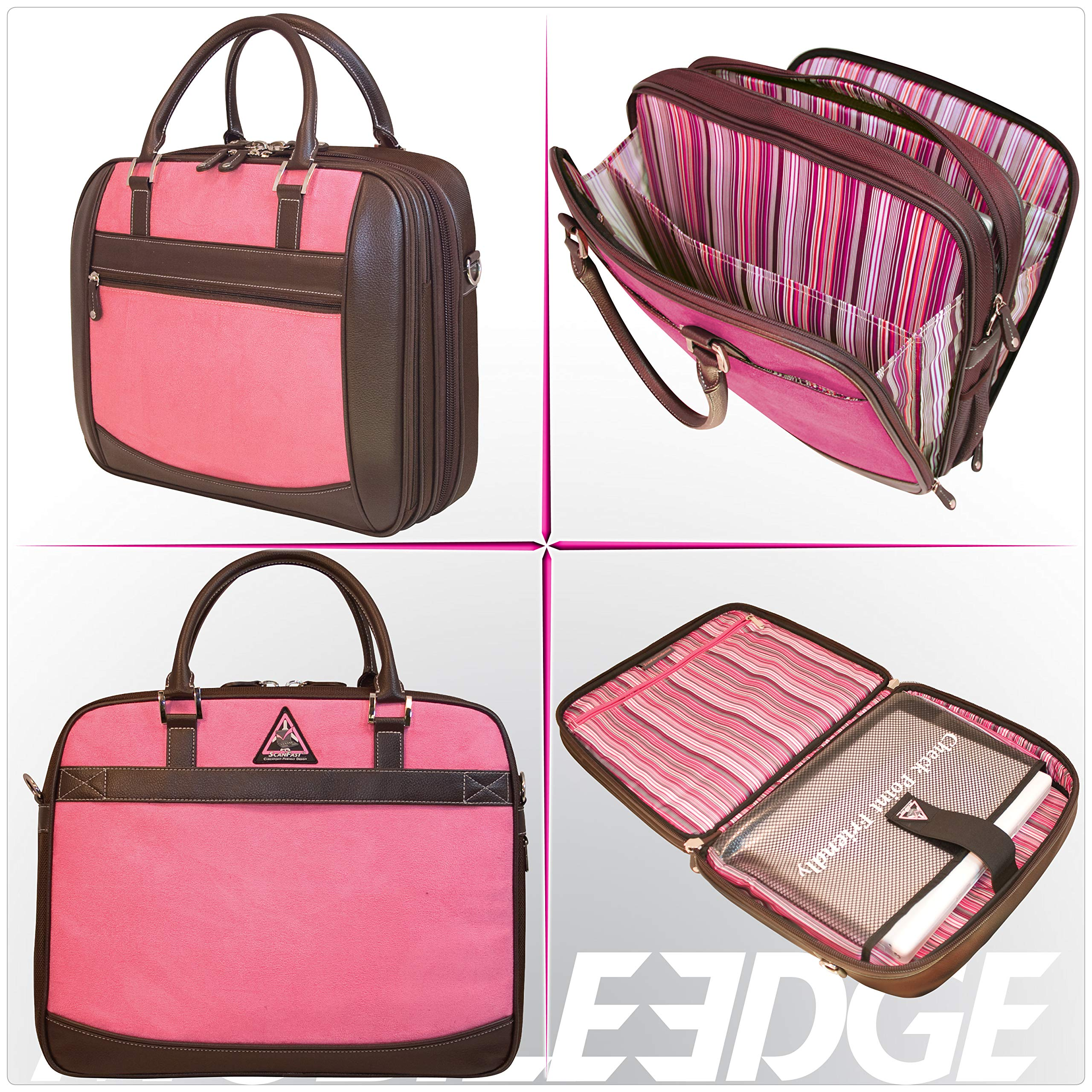 Mobile Edge Women's Black w/Pink, Checkpoint Friendly Element Laptop Briefcase 16 Inch PC, 17 Inch MacBook, Business, Travel MESFEBX by Mobile Edge (Image #5)