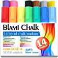 Blami Arts Chalk Markers for Kids & Artists Extra GOLD SILVER and ERASER Ink Pens 14 Vibrant Liquid chalk paint - reversible Bullet & Chisel Fine Tip Free Your Imagination with Chalkboard Marker Now!