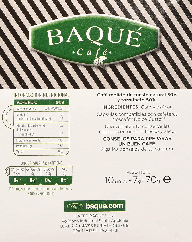 Cafés Baqué 10 Capsulas Compatibles Dolce Gusto Espresso Extra ...