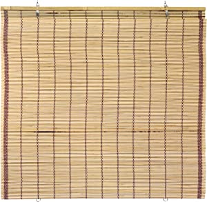 "ORIENTAL Furniture Burnt Bamboo Cordless Window Shade - Tortoise 24"" W"