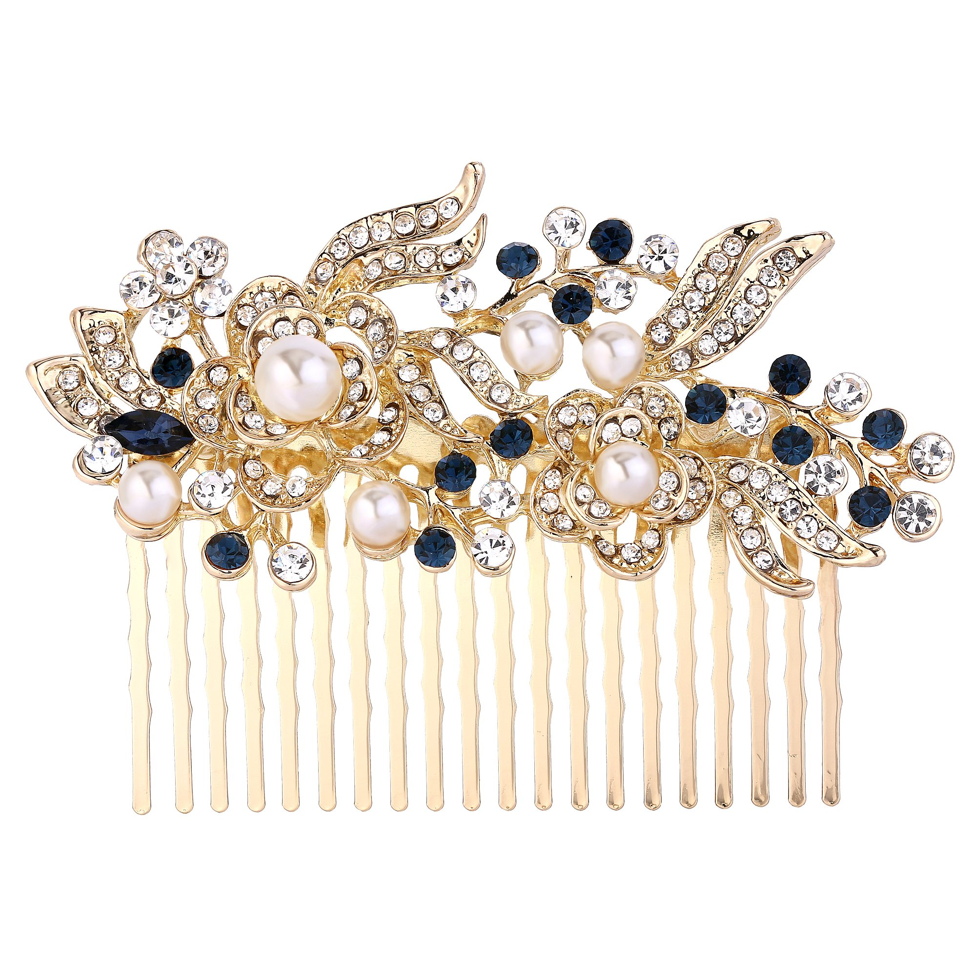 EVER FAITH Austrian Crystal Cream Simulated Pearl Flower Leaf Vine Hair Comb Blue Gold-Tone by EVER FAITH
