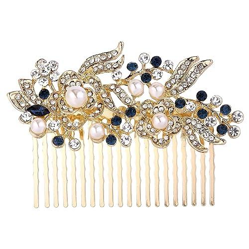 EVER FAITH Women's Austrian Crystal Wedding Elegant 3 Flower Leaf Hair Comb jSrfxw