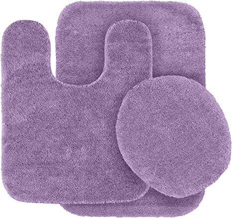 Amazon Com Garland Rug 3 Piece Traditional Nylon Washable Bathroom Rug Set Purple Home Kitchen