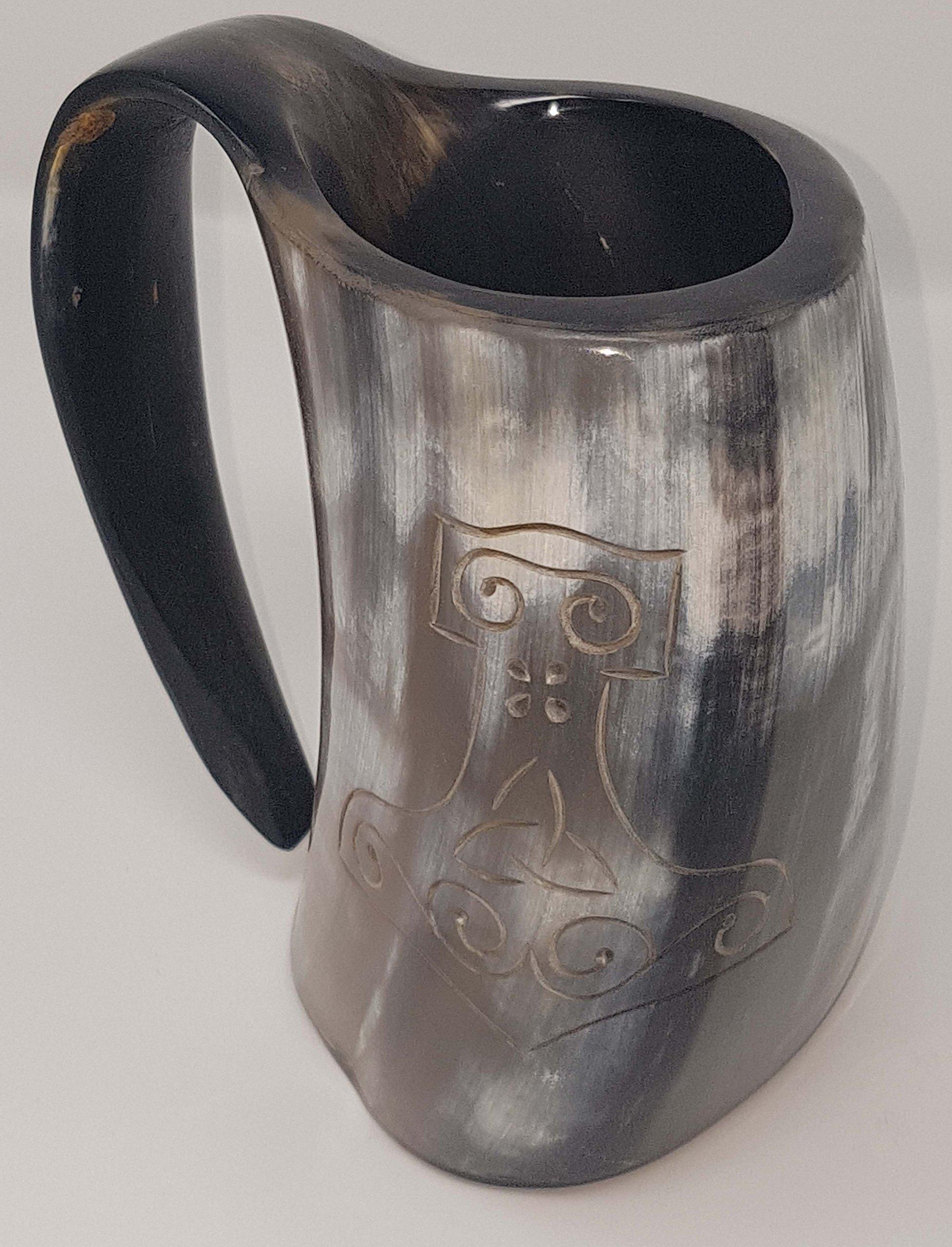BRANDED Polished Thor's Hand Engraved Handcrafted XL Handmade 6 Inch Game of Thrones style Drinking Mug Viking Beer Tankard/Wine Mug 28 Oz