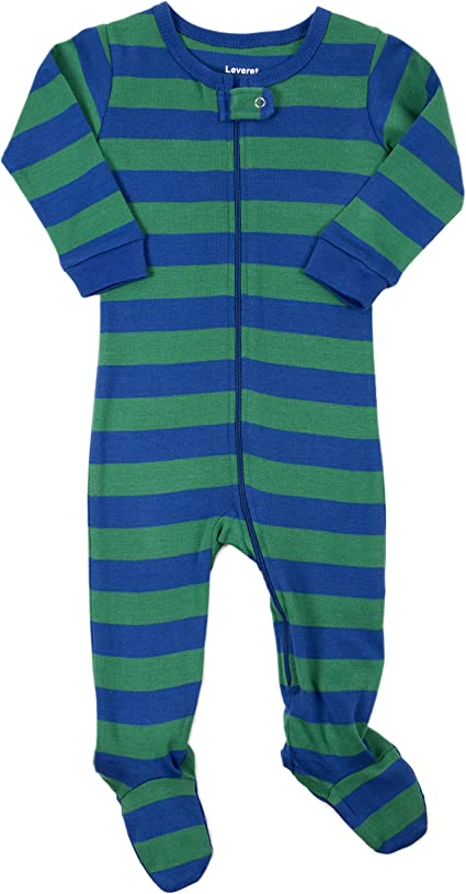 Size 6M-5T Leveret Baby Boys Blue//Navy Striped Fleece Footed Sleeper Pajama