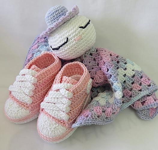 Set de Regalo Recién Nacido BabyChic Rosa. Hecho a Mano. Crochet ...