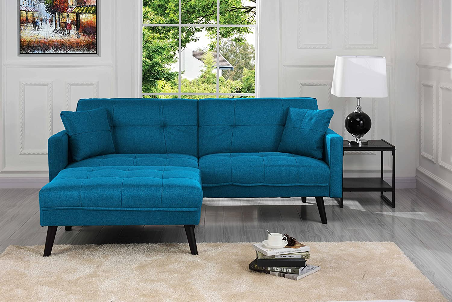 Mid Century Modern Linen Fabric Futon Sofa Bed, Living Room Sleeper Couch (Blue) by Sofamania