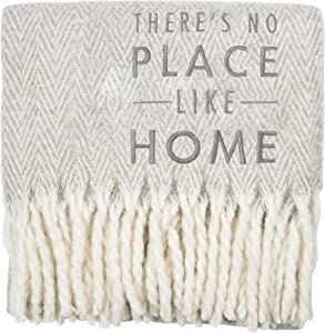 Pavilion Gift Company There's No Place Like Home 50x60 Super Soft Herringbone Chevron Tassel Throw Blanket, Gray