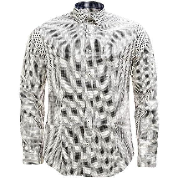 0e6f29c74 Ben Sherman Off White All Over Cross Pattern Retro Shirt - 50807  Amazon.co. uk  Clothing