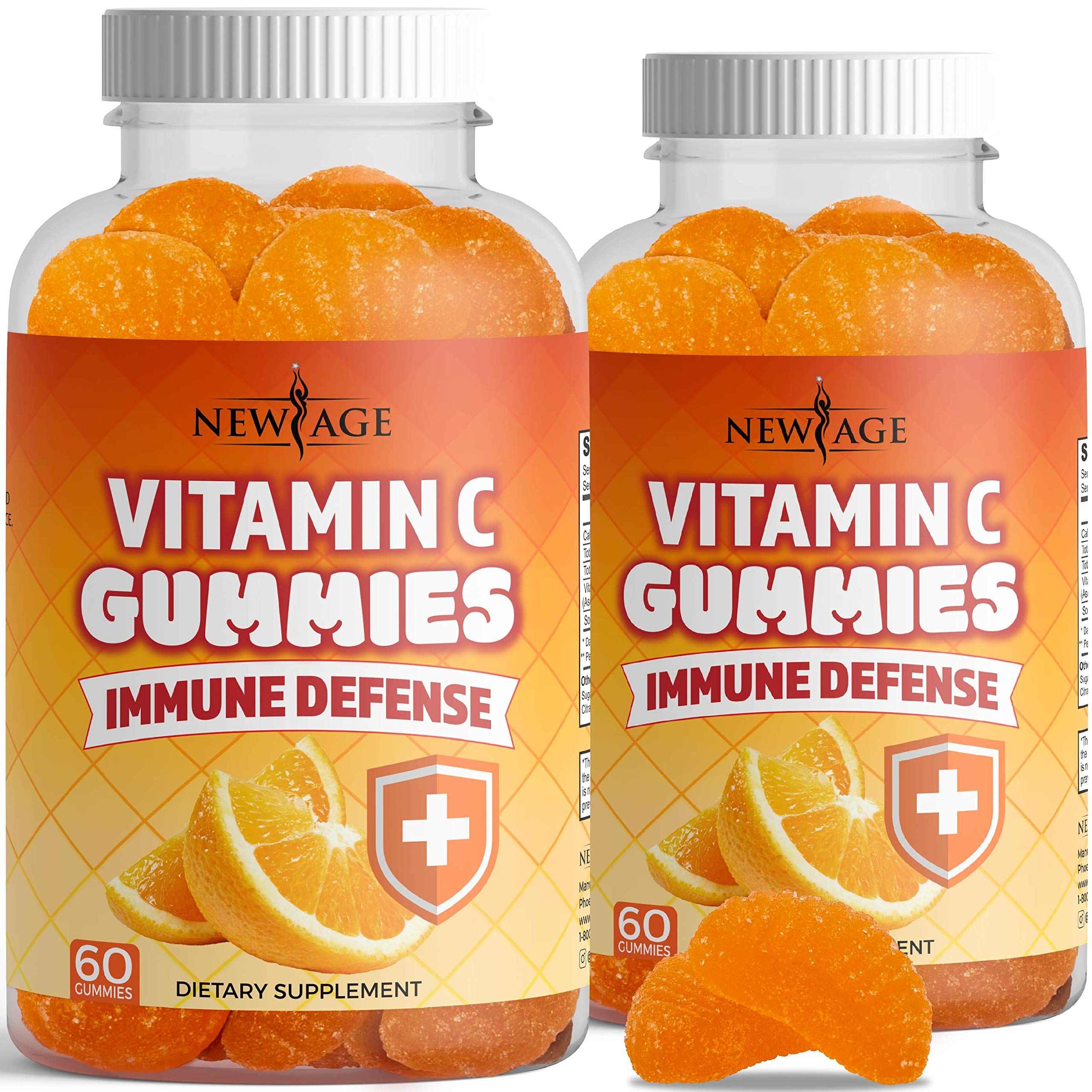 Vitamin C Gummies by New Age - Orange Vitamin C Gummy 2-Pack - Supports Healthy Immune System - Vegetarian Without Gluten - 120 Gummies