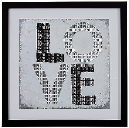 Amazon.com: Modern Black and White LOVE Word Art, Black Frame, 14\