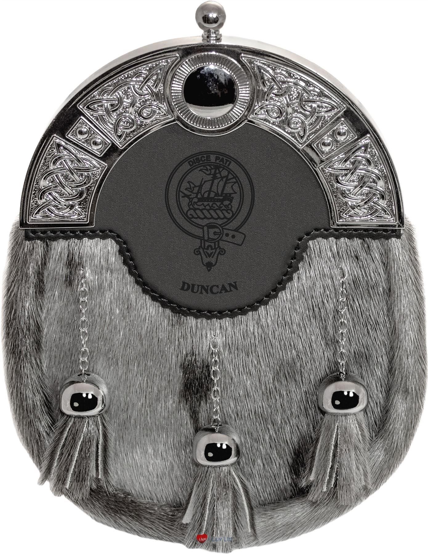 Duncan Dress Sporran 3 Tassels Studded Targe Celtic Arch Scottish Clan Name Crest