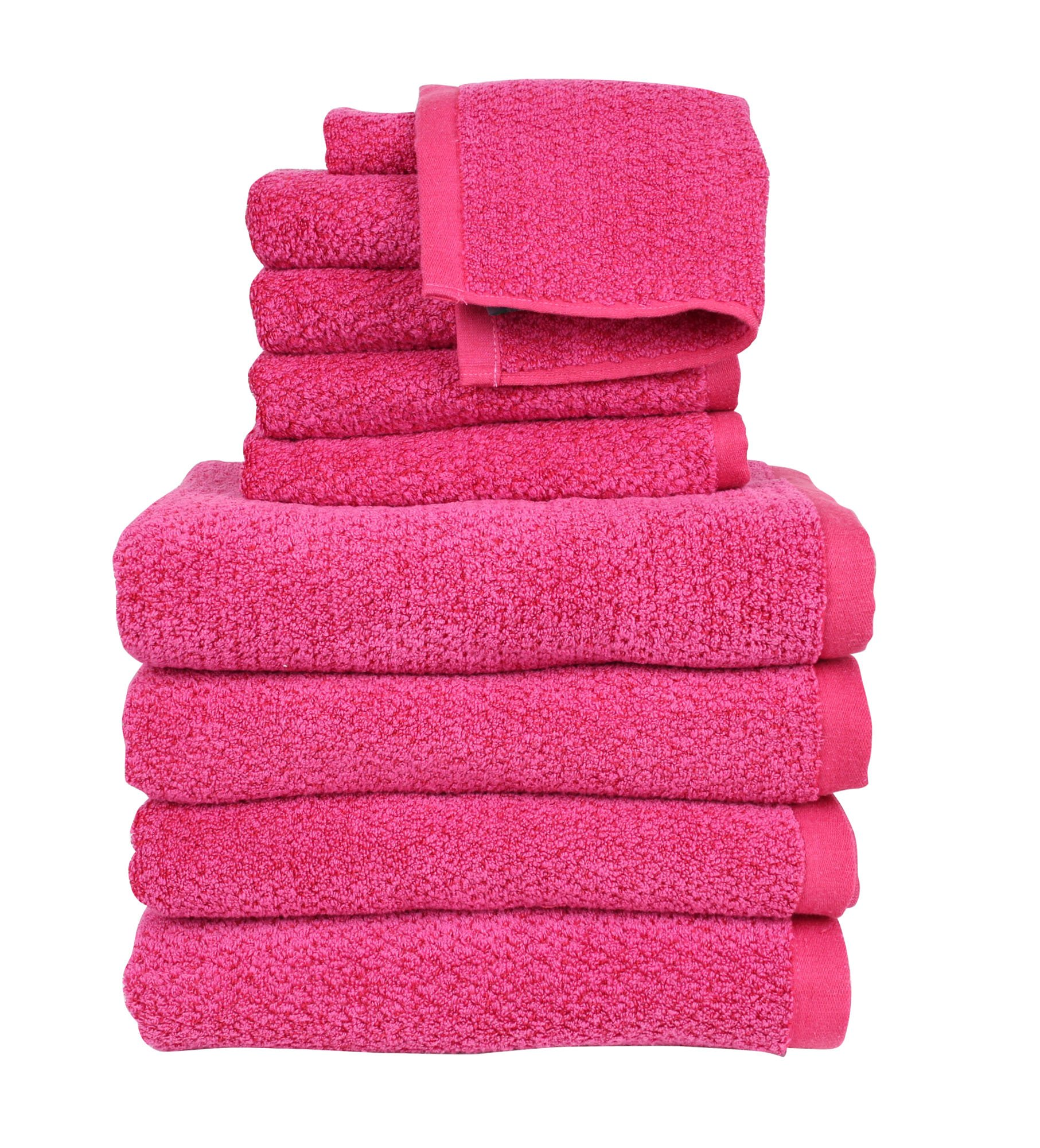 Everplush Diamond Jacquard, Bath Towel Set of 10, 4 Bath Towels, 4 Hand Towels, 2 Washcloths, Magenta