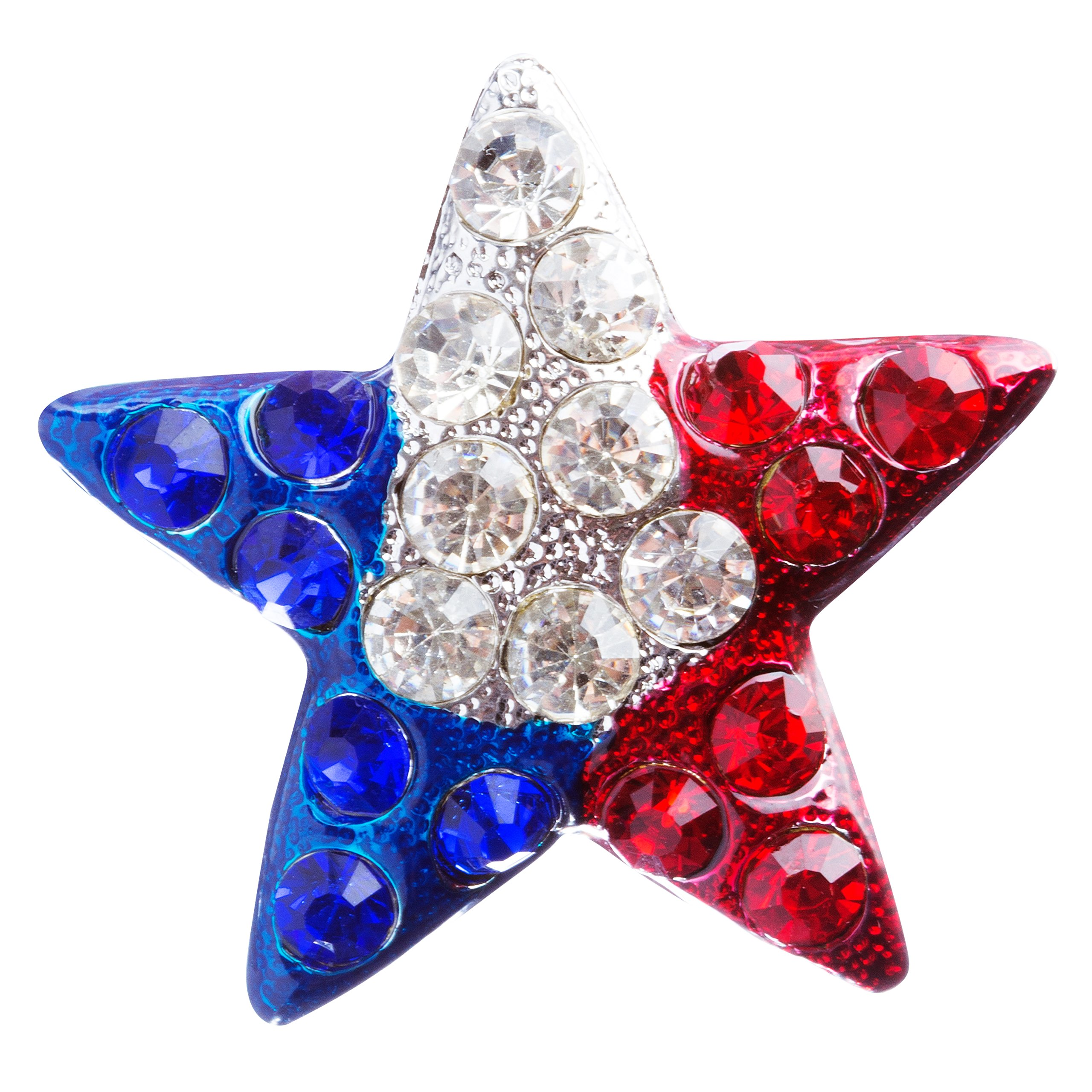 ACCESSORIESFOREVER Women Patriotic Jewelry Crystal Rhinestone Fascinating Star Design Pin BH109 Silver