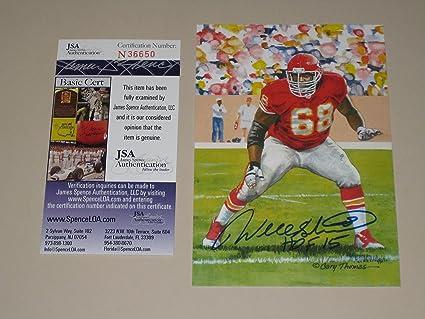 Will Shields HOF Kansas City Chiefs Autographed Goal Line Art Card (JSA COA) a99a9102c