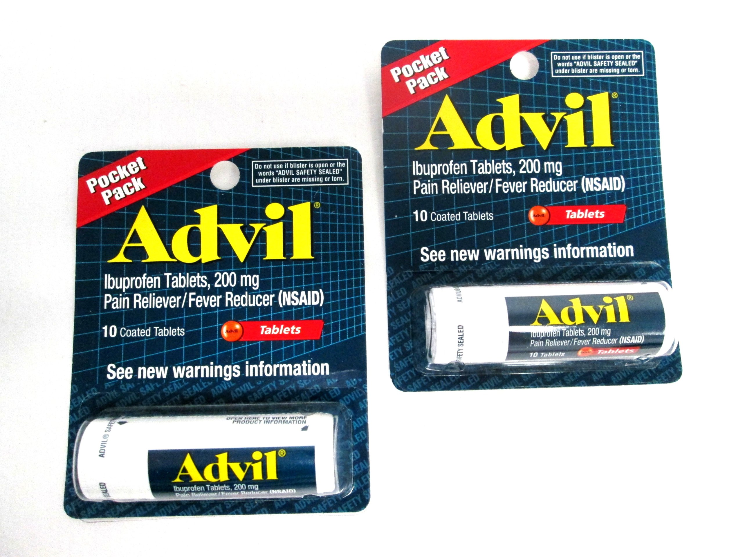 2 Pack of Pocket Pack Advil Pain Reliever / Fever Reducer Ibuprofen Gel Caplets 200mg - 10 Coated Tablets PER Pack (20 Tablets Total)