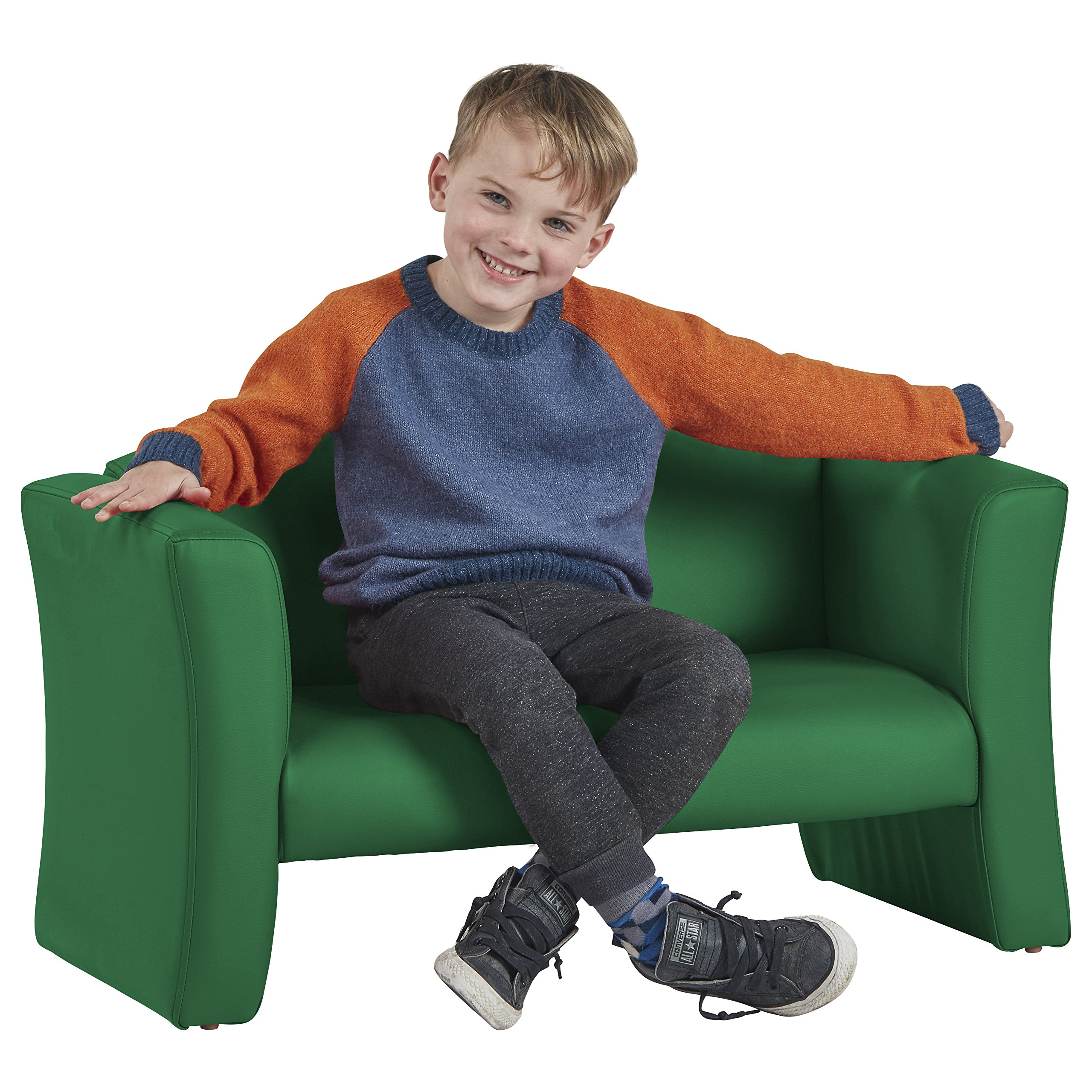 ECR4Kids SoftZone Gum Drop Upholstered Sofa for Kids - Daycare, Homeschool, Classroom Furniture, Home Decor - Green