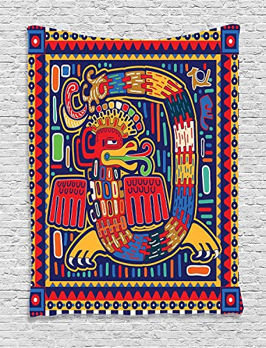Ambesonne Mexican Tapestry, Aztec Culture Pattern Ethnic Colorful Mythology Artwork Ancient Snake, Wall Hanging for Bedroom Living Room Dorm, 40 W X 60 Inches, Indigo Mustard Orange