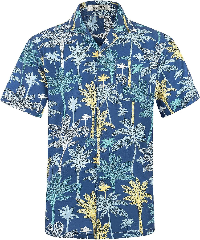 APTRO Mens Hawaiian Shirt Short Sleeve Beach Party Aloha Shirts