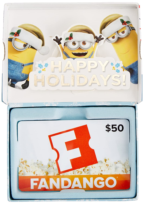 Amazon fandango minions 50 gift card in a gift box gift cards xflitez Gallery