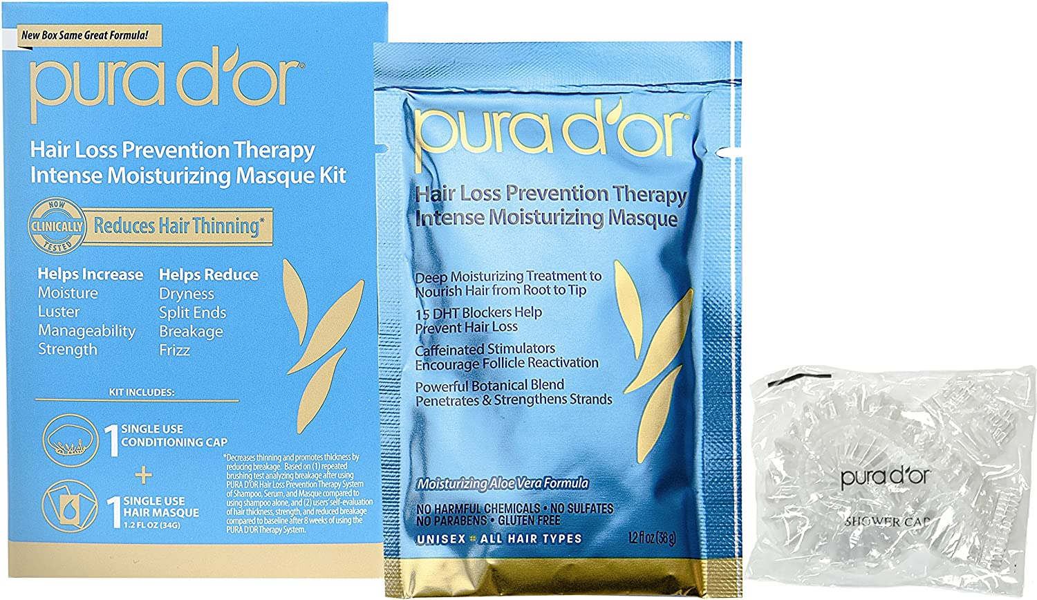 PURA D'OR Hair Thinning Therapy Intense Moisturizing Masque, 8 Packets, Deep Hydrating Mask Treatment, Infused with Natural & Organic Ingredients, For All Hair Types, Men & Women (Packaging may vary) 851615006181