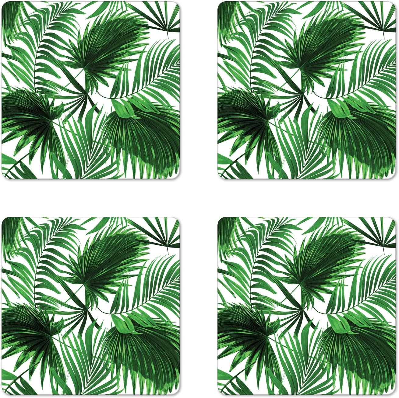 Amazon Com Ambesonne Palm Leaf Coaster Set Of 4 Realistic Vivid Leaves Of Palm Tree Growth Ecology Botany Themed Print Square Hardboard Gloss Coasters Standard Size Fern Green Coasters