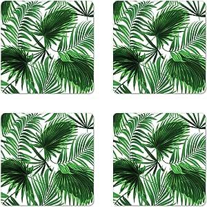 Amazon Com Ambesonne Palm Leaf Coaster Set Of 4 Realistic Vivid Leaves Of Palm Tree Growth Ecology Botany Themed Print Square Hardboard Gloss Coasters Standard Size Fern Green Coasters