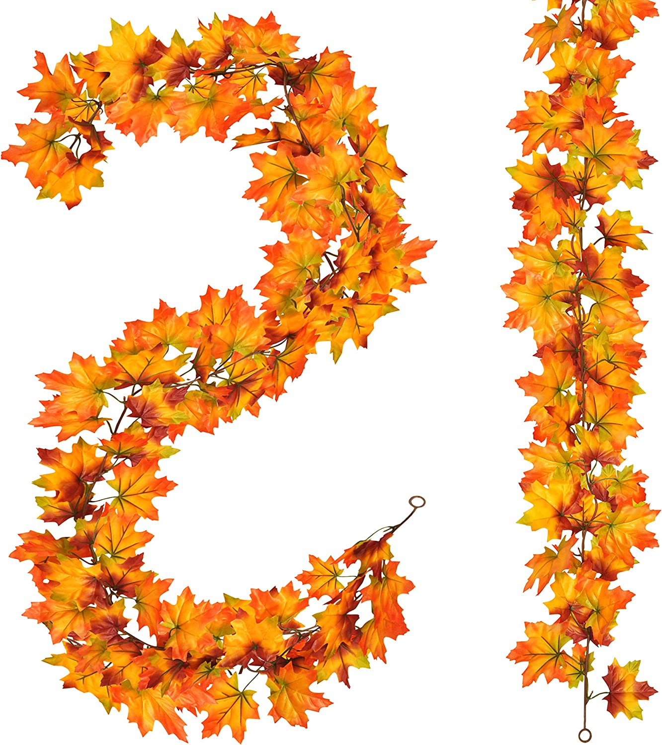 2 Pack Fall Maple Garland - 5.9ft/Piece Artificial Fall Foliage Garland Colorful Autumn Decor for Home Wedding Party (Red and Orange)