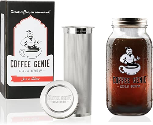 Coffee Genie Cold Brew Coffee Maker-2qt Iced Coffee Maker w Ball Mason Jar and Stainless Steel Cold Brew Filter Infuser