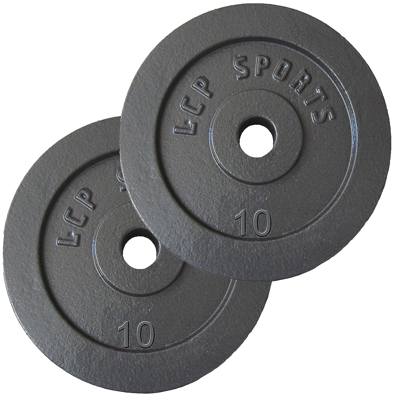 LCP Sports 10 kg Hantelscheiben Set 2 x 10 kg Gusseisen Gewichte  30//31 mm Bohrung