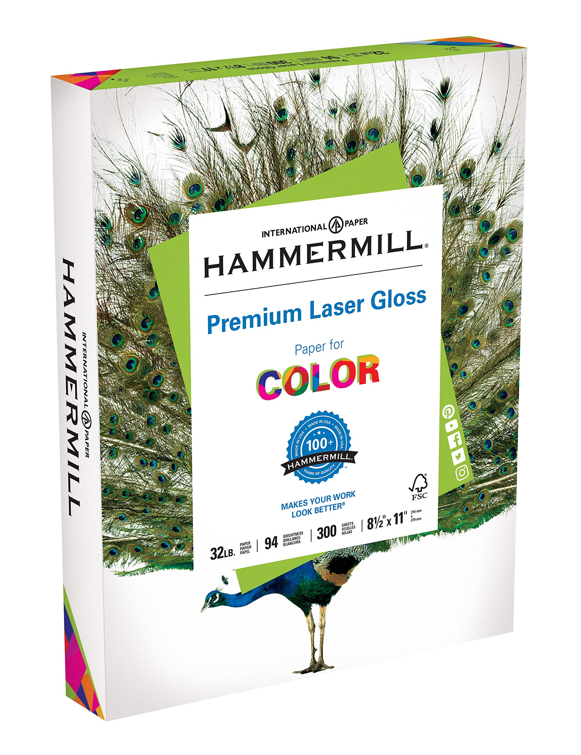 Hammermill Paper, Premium Laser Gloss Paper, 8.5 x 11 Paper, Letter Paper, 32lb Paper, 94 Bright, 1 Pack / 300 Sheets (163110R) Acid Free Paper by Hammermill (Image #1)