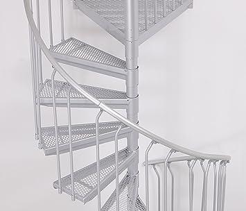 Escalera exterior ST 130, galvanizada en caliente, sistema de construcción de escaleras de acero, 11 peldaños + 1 pedestal, diámetro de 130 cm: Amazon.es: Bricolaje y herramientas