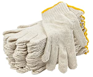 """12 Pack Beige String Knit Gloves 10"""". Washable Glove with Elastic Knit Wrist. Cotton Polyester Gloves. Plain Seamless Workwear Gloves. Protective Industrial Work Gloves for Men. Wholesale price."""