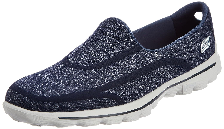 Skechers GO Walk 2 Super Sock Damen Walkingschuhe Blau (NVGY) 37 EU