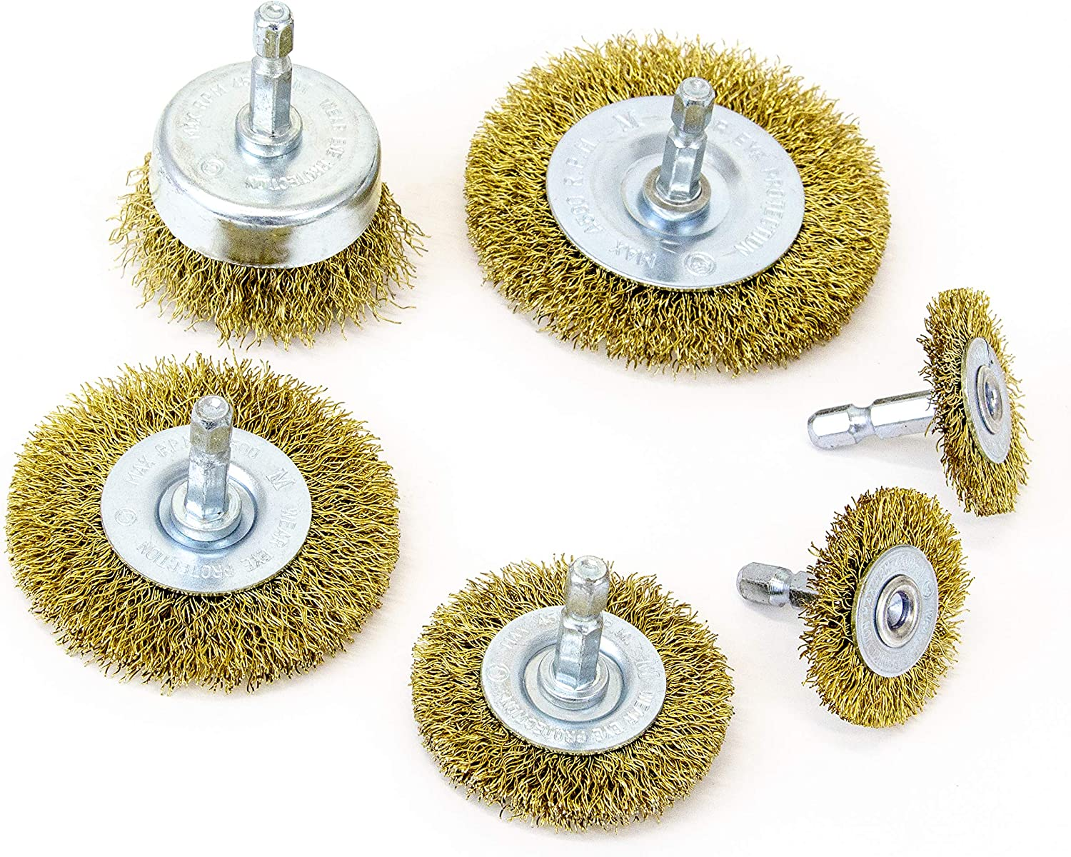 """MIBRO 971531 General Purpose Brass Coated Coarse Wire Wheel and Cup Brush Set with 1/4"""" Hex Shank, 6 Pieces"""