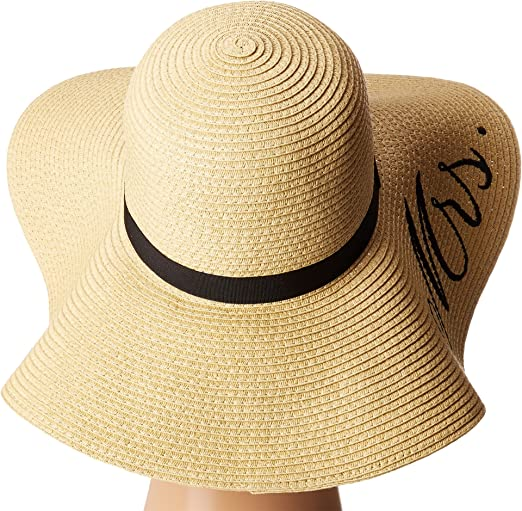 d1d22803eb6dbd Betsey Johnson Women's Bride mrs. Floppy Hat, Natural, One Size at Amazon  Women's Clothing store: