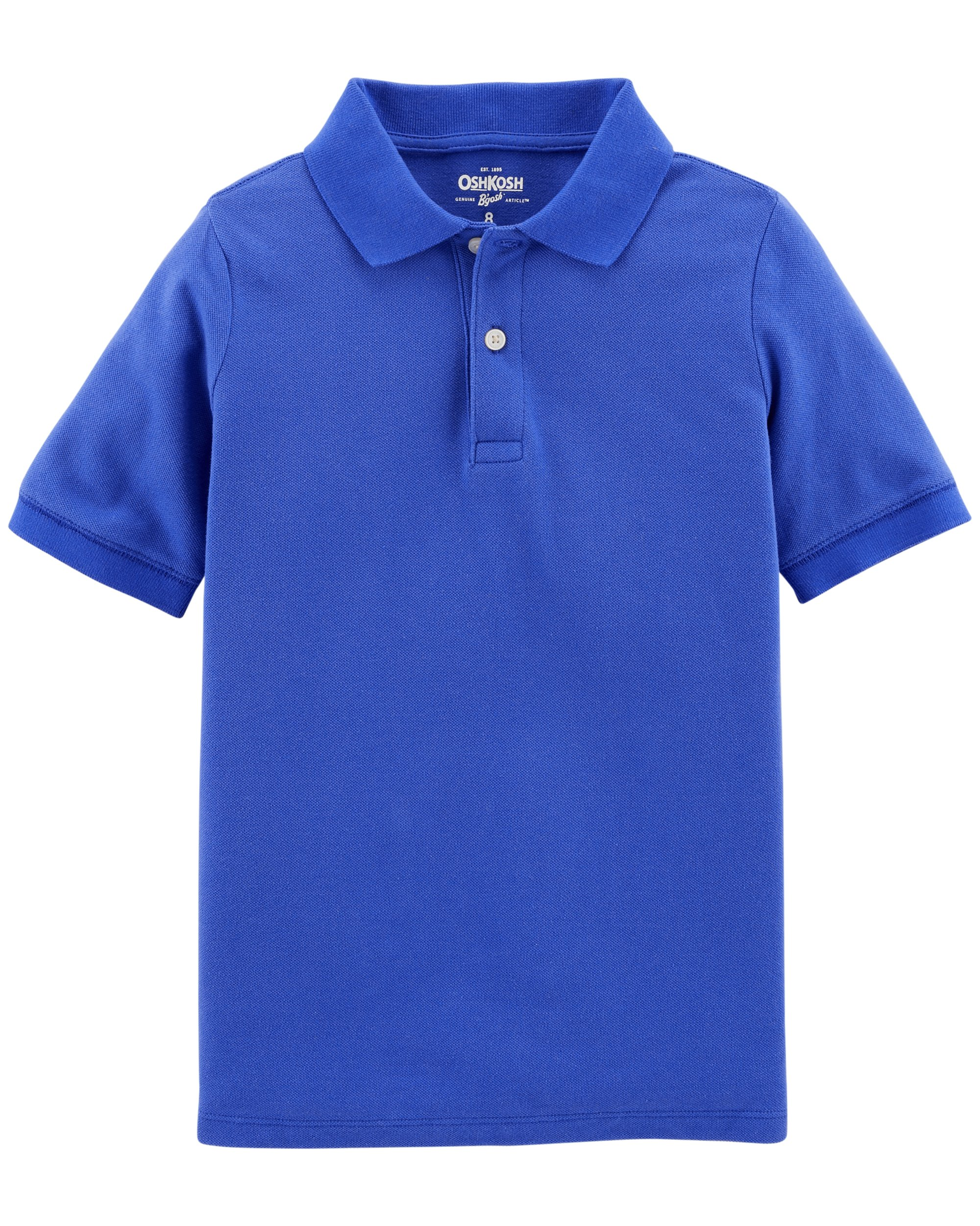 Osh Kosh Boys' Short Sleeve Uniform Polo, Royal Blue, 8
